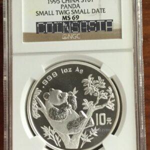 1995 silver panda micro date coin