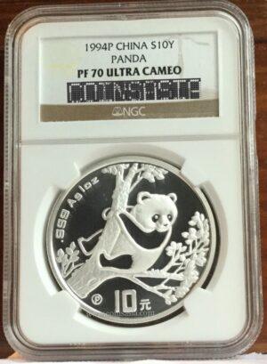 1994 silver proof panda pf70