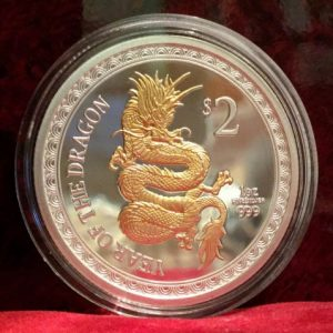 2012 silver new zealand dragon coin