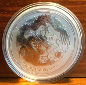 2012 Perth mint silver dragon coin
