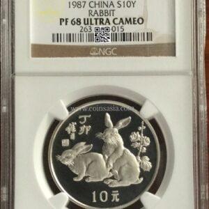 1987 China silver lunar rabbit coin