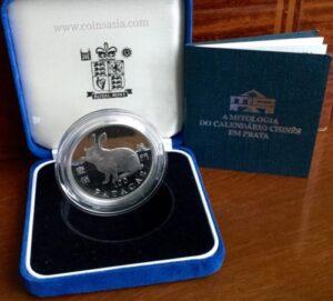 1999 Macau Silver lunar series II Rabbit proof coin