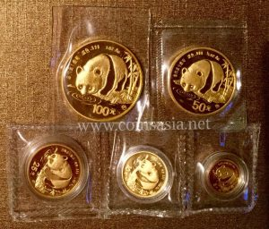 1987 China Gold PANDA 5-Coin Sealed Set
