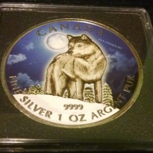 2011 Canada 1 oz Silver Wildlife Series Colored Wolf Coin