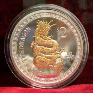 2012 silver new zealand dragon coin