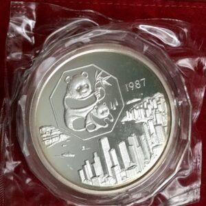 1987 China silver 5 oz panda