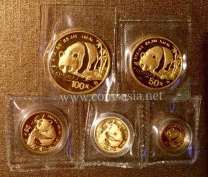 1987 China Gold PANDA 5-Coin Sealed Set