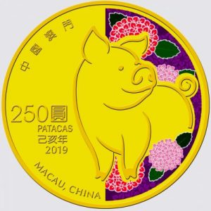 2019 Macau gold Pig coin